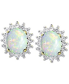 Opal (1-3/8 ct. t.w.) and White Topaz (9/10 ct. t.w.) Stud Earrings in 18k Gold-Plated Sterling Silver