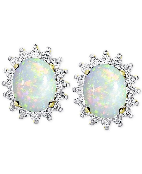 Macy's Opal (1-3/8 ct. t.w.) and White Topaz (9/10 ct. t.w.) Stud Earrings in 18k Gold-Plated Sterling Silver