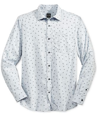 Armani Exchange Men's AX Logo Print Long Sleeve Button Down Shirt ...