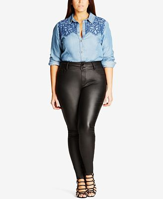 City Chic Trendy Plus Size Skylar Coated Faux-Leather Skinny Jeans ...