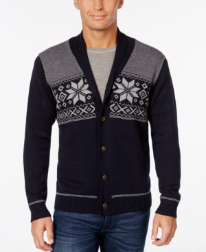 Men's Vintage Style Sweaters – 1920s to 1960s Weatherproof Mens Snowflake Cardigan Only at Macys $19.96 AT vintagedancer.com