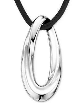Nambé Oval Pendant Necklace in Sterling Silver and Black Leather, Only at Macy's