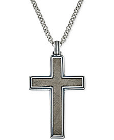 Esquire Men's Jewelry Meteorite Cross Pendant Necklace in Sterling Silver, Created for Macy's