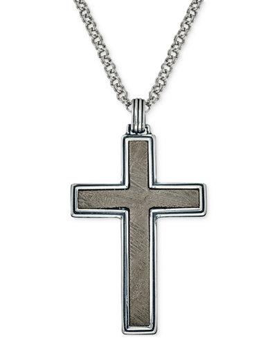 Esquire mens jewelry meteorite cross pendant necklace in sterling esquire mens jewelry meteorite cross pendant necklace in sterling silver created for macys aloadofball Image collections