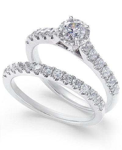 Diamond Round Bridal Set (1 ct. t.w.) in 14k White Gold