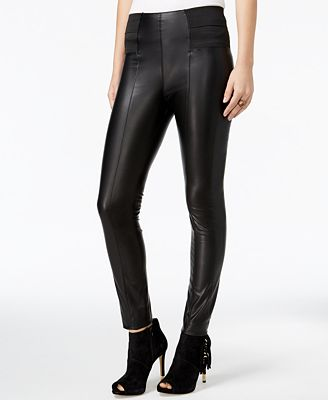 GUESS Suzanne Faux-Leather Leggings - Women - Macy's