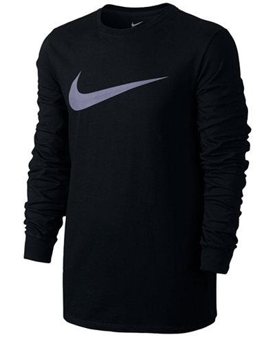 Nike Mens Long Sleeve Swoosh T-Shirt - T-Shirts - Men - Macy's