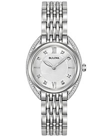 Bulova Women's Diamond Accent Stainless Steel Bracelet Watch 30mm 96R212
