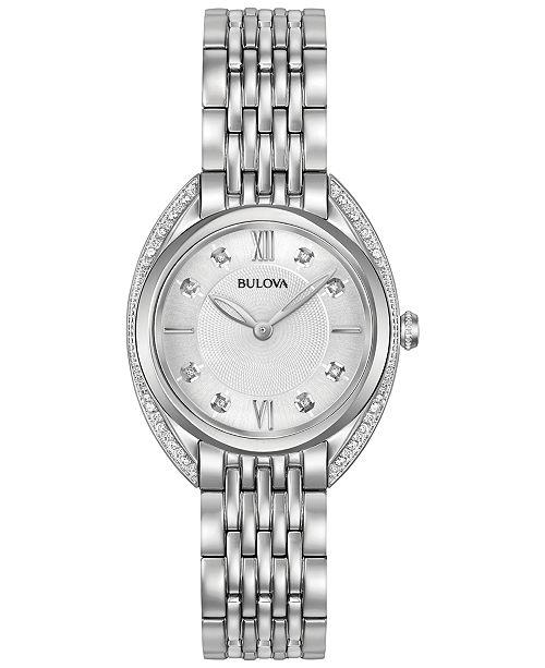 Bulova Women's Diamond Accent Stainless Steel Bracelet Watch 30mm 96R212