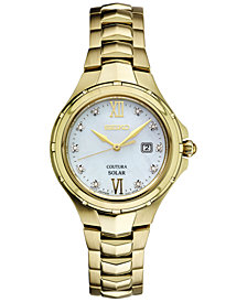 Seiko Women's Solar Coutura Diamond Accent Gold-Tone Stainless Steel Bracelet Watch 29mm SUT310