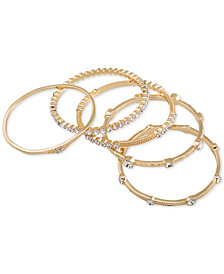 ABS by Allen Schwartz Gold-Tone 5-Pc. Set Crystal Studded Bangle Bracelets