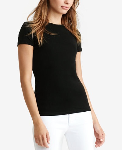 Lauren ralph lauren short sleeve crew neck tee tops for Womens black tee shirt