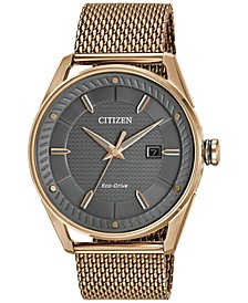 Drive from Citizen Eco-Drive Men's Rose Gold-Tone Stainless Steel Mesh Bracelet Watch 42mm BM6983-51H