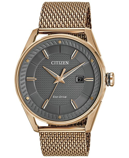 Citizen Drive from Citizen Eco-Drive Men's Rose Gold-Tone Stainless Steel Mesh Bracelet Watch 42mm BM6983-51H