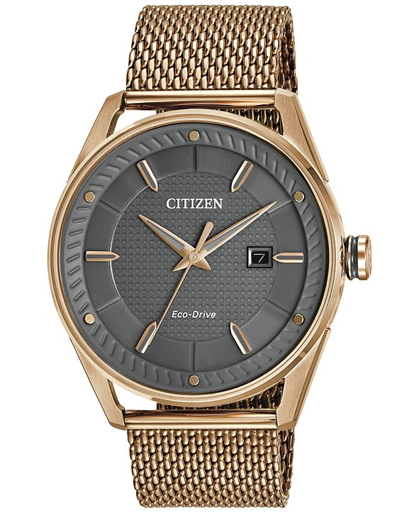 Citizen Drive from Citizen Eco-Drive Men's Rose Gold-Tone Stainless Steel Mesh Bracelet Watch 42mm BM6983-51H