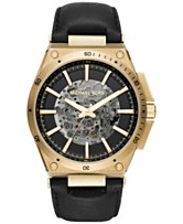 68b7cc7f9104 Michael Kors Men s Automatic Wilder Black Leather Strap Watch 44mm MK9031