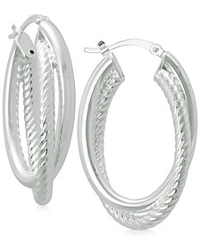 Textured and Polished Twisted Hoop Earrings in Sterling Silver