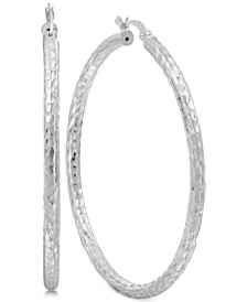 Thin Textured Hoop Earrings in Sterling Silver