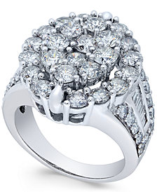 Diamond Oval Cluster Engagement Ring (4 ct. t.w.) in 14k White Gold