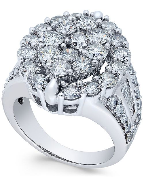 9721a3f67d5 t.w.) in 14k White Gold  Macy s Diamond Oval Cluster Engagement Ring (4 ct.