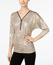 JM Collection Metallic Zip-Front Top, Created for Macy's