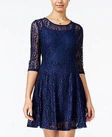 FISHBOWL Juniors' Lace Illusion A-Line Dress