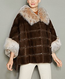 Lynx-Fur-Trim Mink Fur Jacket