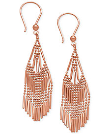 Beaded Fringe Chandelier Earrings in 14k Rose Gold