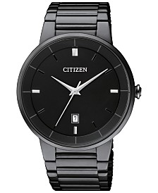 Citizen Men's Quartz Black Ion-Plated Stainless Steel Bracelet Watch 40mm BI5017-50E