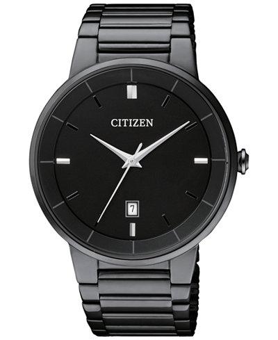 Citizen Men's Quartz Black Ion-Plated Stainless Steel Bracelet Watch 40mm BI5017-50E