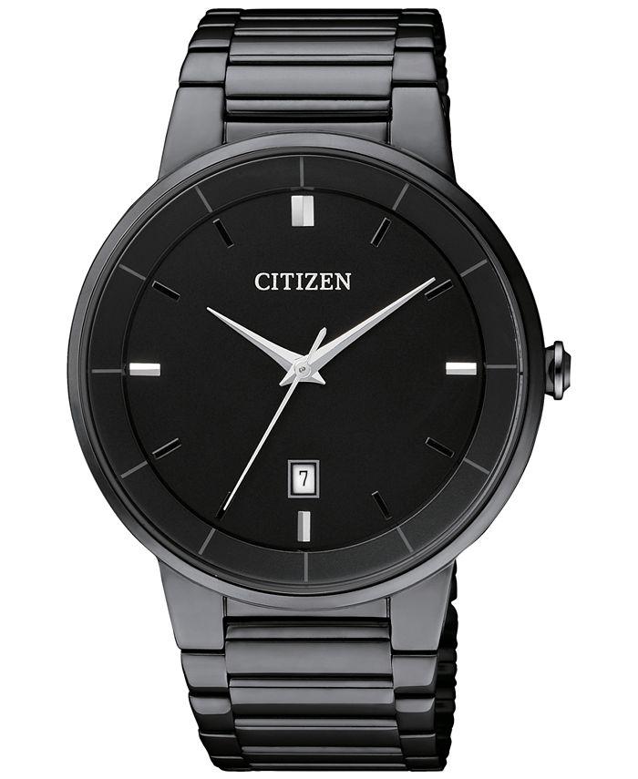 Citizen - Men's Quartz Black Ion Plated Stainless Steel Bracelet Watch 40mm BI5017-50E