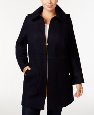 MICHAEL Michael Kors Plus Size Hooded Wool-Blend Walker Coat