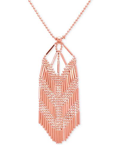 Beaded V Pendant Necklace in 14k Rose Gold