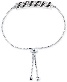 Unwritten Silver-Plated Marcasite and Crystal Bar Slider Bracelet
