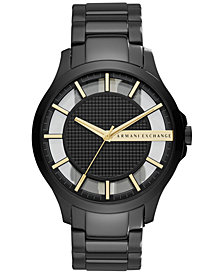 A|X Armani Exchange Men's Hampton Black-Tone Stainless Steel Bracelet Watch 46mm AX2192