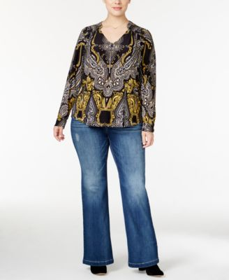 INC International Concepts Plus Size Scarf-Print Blouse & Flare-Leg Jeans, Only at Macy's
