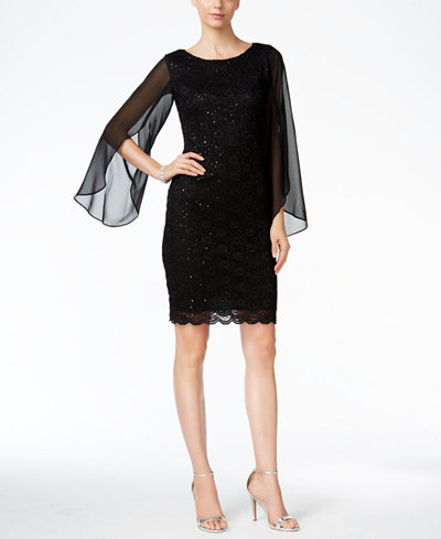 Connected Illusion Angel Sleeve Lace Sheath Dress