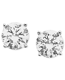 Certified Colorless Diamond Stud Earrings in 18k White Gold