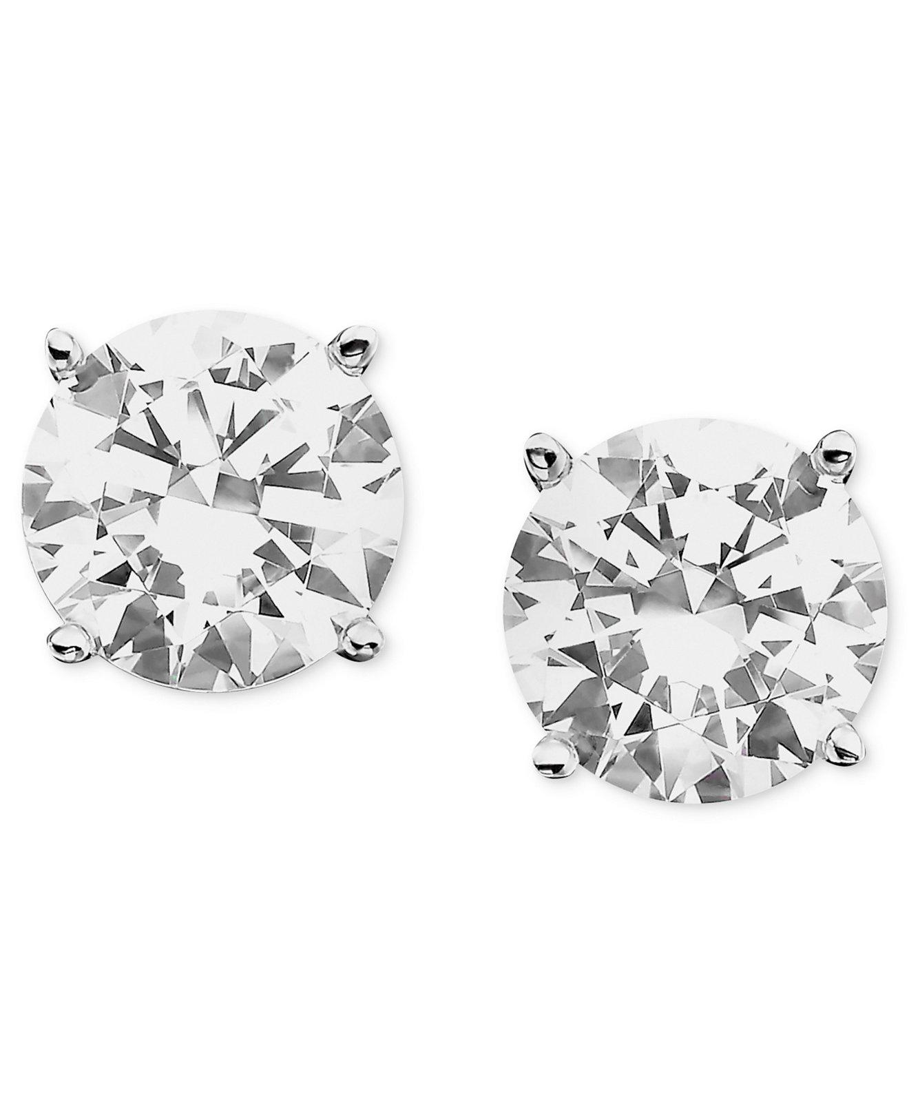 Certified Colorless Diamond Stud Earrings In 18k White Gold  Earrings   Jewelry & Watches  Macy's