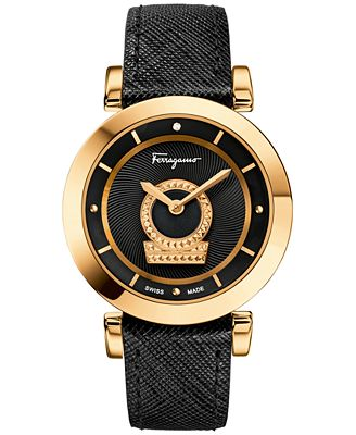Ferragamo Women's Swiss Minuetto Diamond Accent Black Leather Strap Watch 37mm FQ4230015