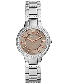 Fossil Women's Virginia Crystal Stainless Steel Bracelet Watch 30mm ES4147