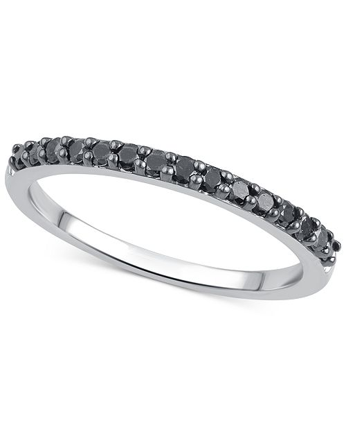 Macy's Black or Brown Diamond Band (1/4 ct. t.w.) in 14k White Gold, Rose Gold or Gold