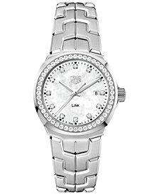 TAG Heuer Women's Swiss LINK Diamond (3/4 ct. t.w.) Stainless Steel Bracelet Watch 32mm WBC1316.BA0600