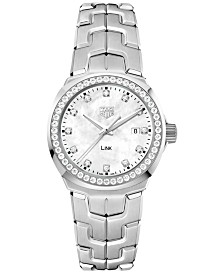 TAG Heuer Women's Swiss LINK Diamond (3/4 ct. t.w.) Stainless Steel Bracelet Watch 32mm WBC1316.BA0600