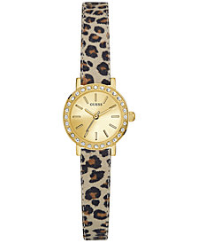 GUESS Women's Blue Animal Print Leather Strap Watch 23mm U0885L4