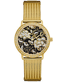 GUESS Women's Gold-Tone Stainless Steel Mesh Bracelet Watch 35mm U0822L2
