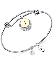 Unwritten Pavé and Initial Disc Bangle Bracelet in Stainless Steel and Silver-Plate