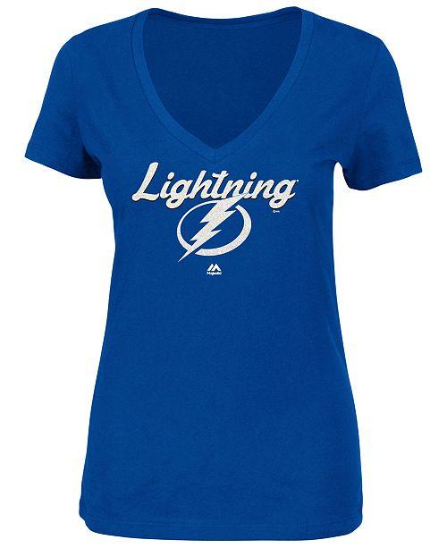 Majestic Women's Tampa Bay Lightning Match Penalty Glitter T-Shirt