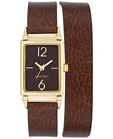 Nine West Women's Chocolate Brown Imitation Leather Double Wrap Strap Watch 22x31mm NW-1954BNBN