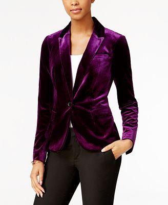 Tommy Hilfiger Velvet Blazer - Jackets - Women - Macy's